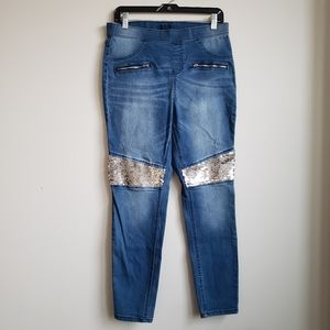 Justice Girls Sequin Distressed Denim Jeans